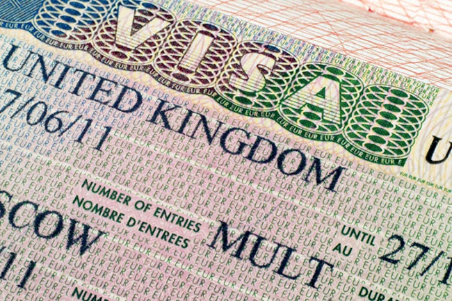 United Kingdom visa in passport