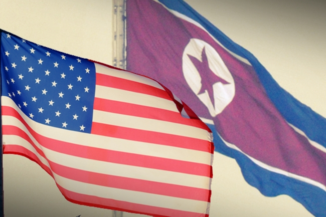 NORTH KOREA FLAG AND US FLAG