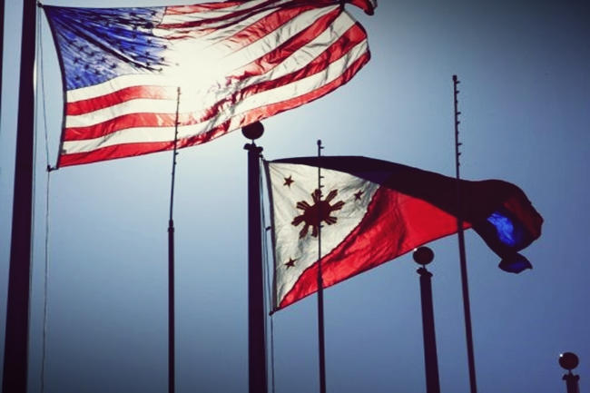 us flag and philippine flag