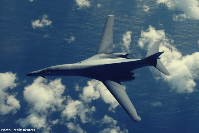 One of two U.S. Air Force B-1B Lancer bombers flies a 10-hour mission from Andersen Air Force Base