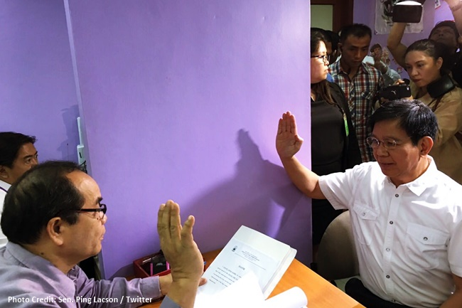 Lacson files cases at the Ombuds vs Faeldon et al for alleged rice smuggling