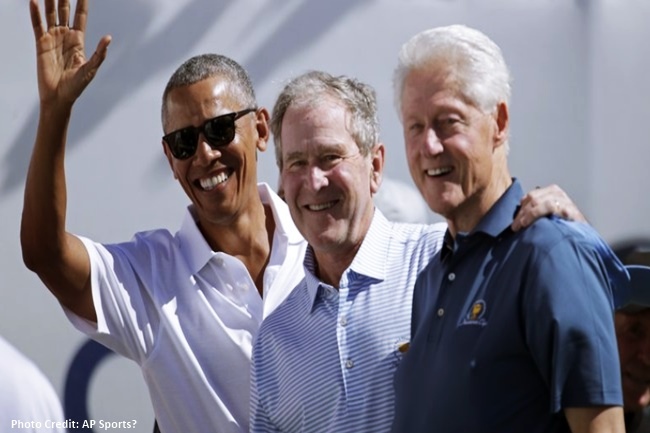 former Presidents Barack Obama, George W. Bush at Bill Clinton presidents cup 2017
