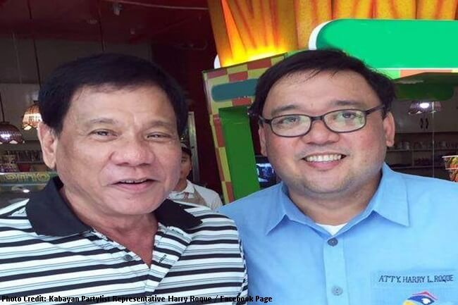 Kabayan Partylist Representative Harry Roque with Duterte