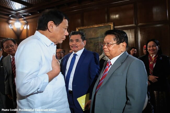 MILF First Vice Chairman for Political Affairs at BTC Chair Gazali Jaafar and President Duterte