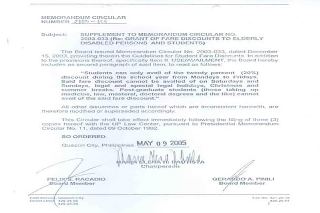 memorandum circular ng LTFRB noong 2005