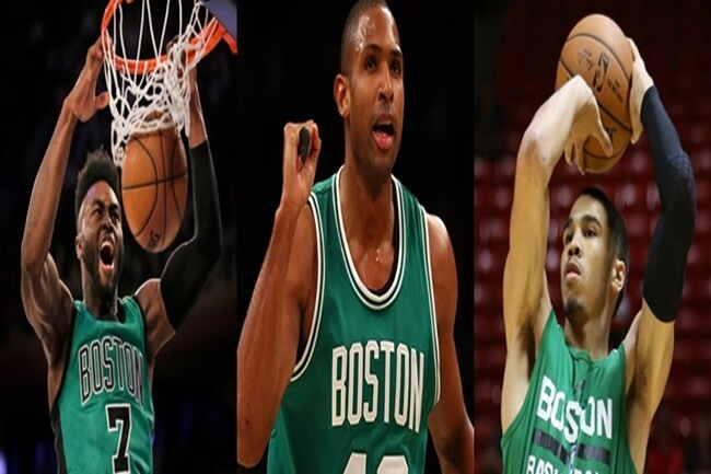 JAYLEN BROWN, AL HORFORD AT JAYSON TATUM