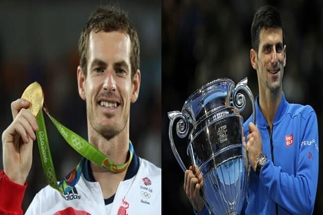 Tennis Superstars Andy Murray at Novak Djokovic