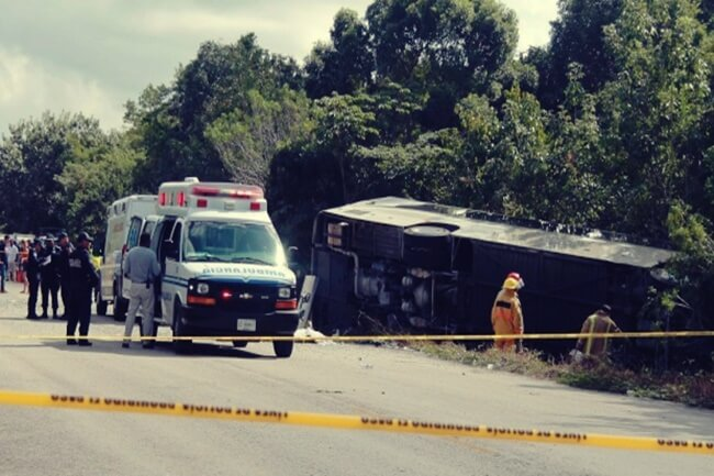 mayan ruins bus crash