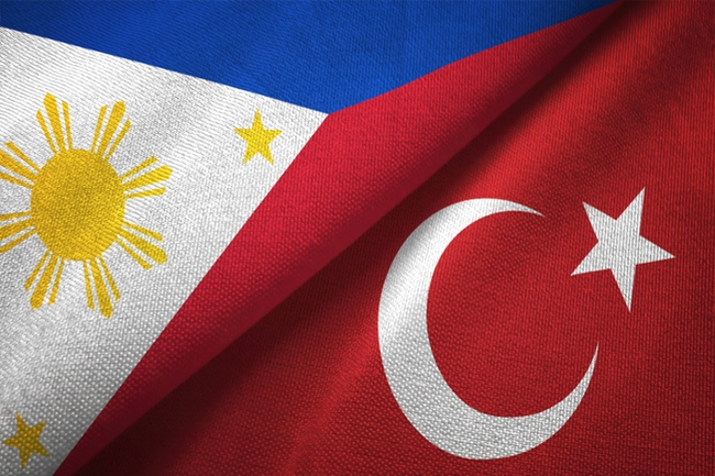 Philippines and Turkey two flags textile cloth, fabric texture