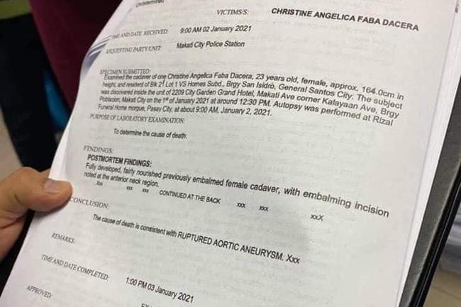 AUTOPSY REPORT CHRISTINE DACERA